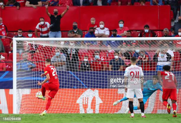 Luka Sucic of RB Salzburg scores their team's first goal during the UEFA Champions League group G match between Sevilla FC and RB Salzburg at Estadio...