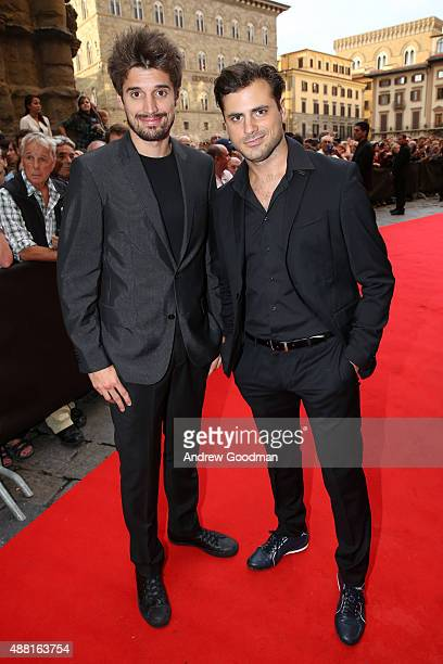 Luka Sulic and Stjepan Hauser of 2CELLOS attend the Celebrity Fight Night gala at Palazzo Vecchio during 2015 Celebrity Fight Night Italy on...
