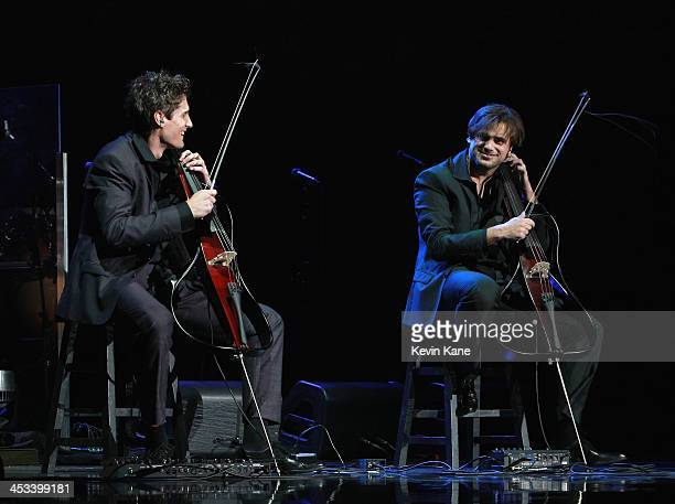 Luka Sulic and Stjepan Hauser perform prior to Elton John at Madison Square Garden on December 3 2013 in New York City