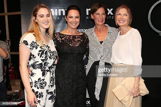 Luka TeresaGerda Kloser Desiree Nosbusch designer Eva Lutz and Ursula Karven attend the Minx by Eva Lutz show during the MercedesBenz Fashion Week...