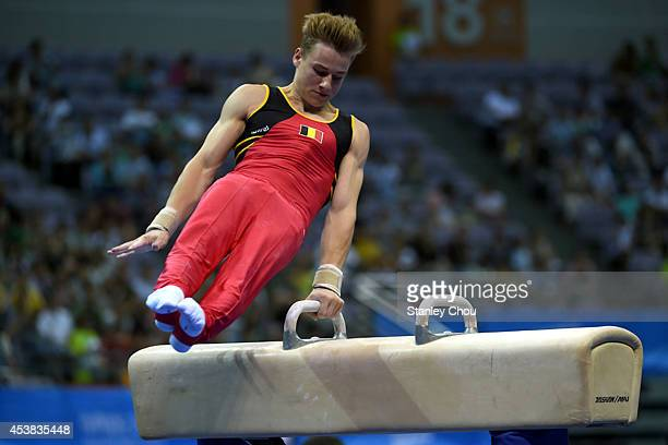 Luka Van Den Keybus of Belgium competes during the Pommel Horse Competition of the Boys AllRound Individual Artistic Gymnastic Final during Day Three...