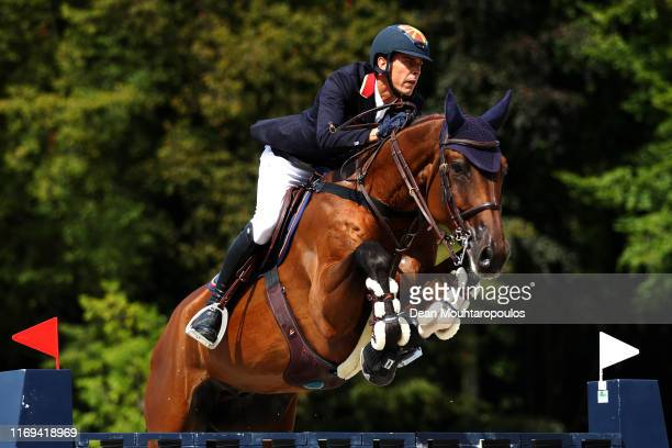 Luka Zaloznik of North Macedonia riding Chablou competes during Day 3 of the Longines FEI Jumping European Championship speed competition against the...