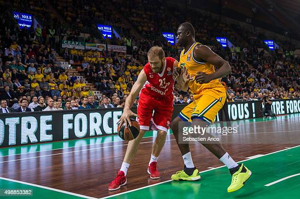 Luka Zoric #21 of Cedevita Zagreb competes with Frejus Zerbo #55 of Limoges CSP in action during the Turkish Airlines Euroleague Regular Season Round...