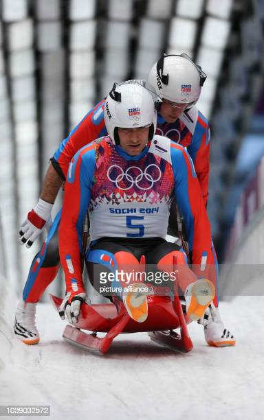 Lukas Broz and Antonin Broz of Czech Republic compete in the Luge Doubles Run 1 in Sliding Center Sanki at the Sochi 2014 Olympic Games Krasnaya...