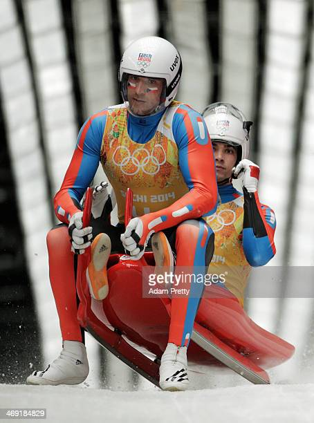 Lukas Broz and Antonin Broz of the Czech Republic finish a run during the Luge Relay on Day 6 of the Sochi 2014 Winter Olympics at Sliding Center...