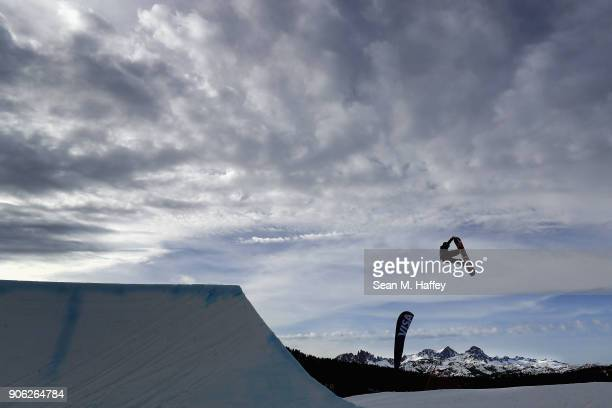 Lukas Caye competes in the qualifying round of Men's Snowboard Slopestyle during the Toyota US Grand Prix on on January 17 2018 in Mammoth California