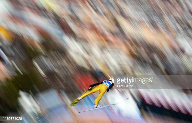 Lukas Danek of Czech Republic jumps during the ski jumping training for the Nordic Combined ahead of the FIS Nordic World Ski Championships the on...