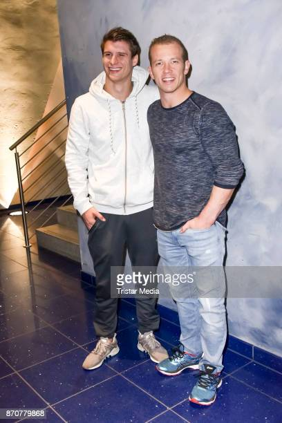 Lukas Dauser and German gymnast champion and olympic gold medal winner Fabian Hambuechen during the 'Klein Gegen Gross' TV Show at Studio Berlin...