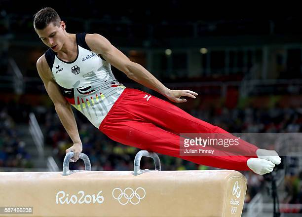 Lukas Dauser of Germany competes on the pommel horse during the men's team final on Day 3 of the Rio 2016 Olympic Games at the Rio Olympic Arena on...
