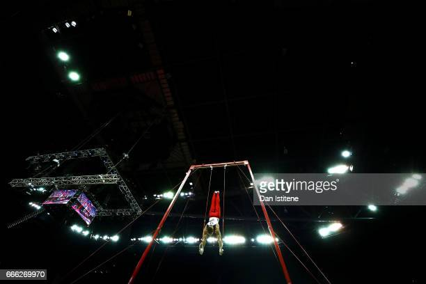 Lukas Dauser of Germany competes on the rings during the men's competition for the iPro Sport World Cup of Gymnastics at The O2 Arena on April 8 2017...