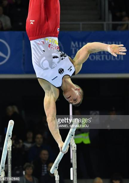 Lukas Dauser of Germany performs on the parallel bars during the men allaround final the European Artistic Gymnastics Championship in Cluj Napoca on...