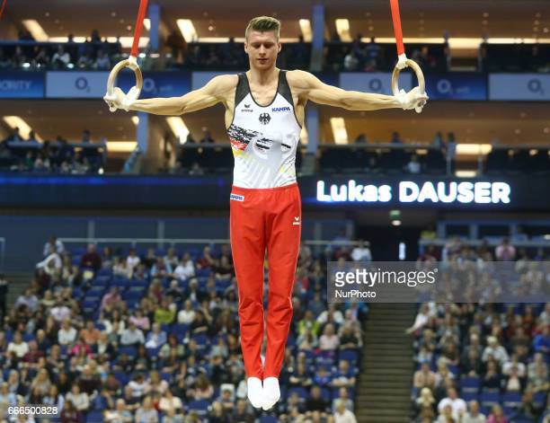 Lukas Dauser on the ringsduring the IPRO Sport World Cup of Gymnastics at The O2 Arena London England on 08 April 2017