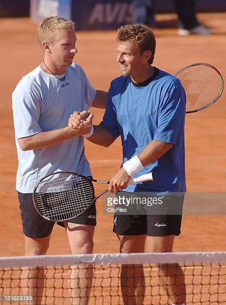 Lukas Dlouhy and Pavel Vizner during their match against Lucas Arnold and Leos Friedl during the Doubles Final of the 2006 Estoril Open at the...