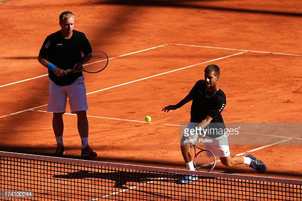Lukas Dlouhy of Czech Republic and Martin Klizan of Slovakia in action during their Doubles Semi Final match against Mariusz Fyrstenberg of Poland...