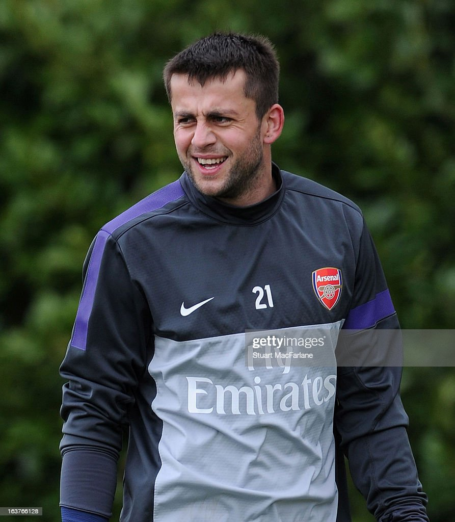 Lukas Fabianski of Arsenal during a training session at London Colney on March 15, 2013 in St Albans, England.