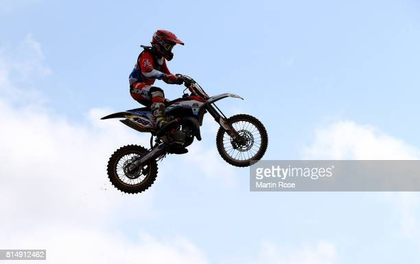 Lukas Fiedler of Germany in action during the International German Motocross Championships on July 15 2017 in Tensfeld Germany