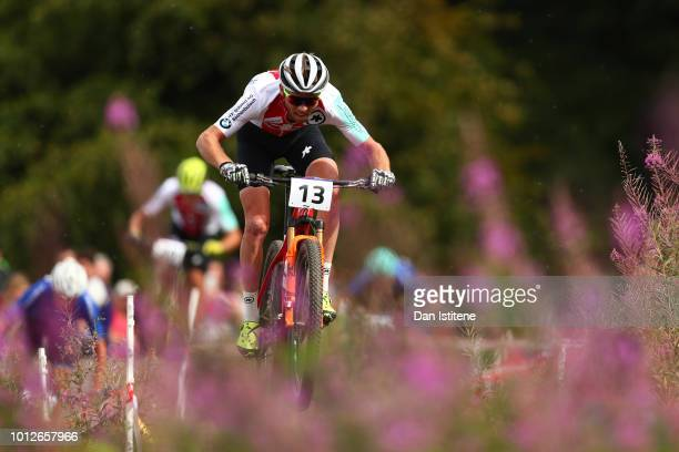 Lukas Flueckiger of Switzerland rides during the Men's Mountain Bike CrossCountry on Day Six of the European Championships Glasgow 2018 at Cathkin...