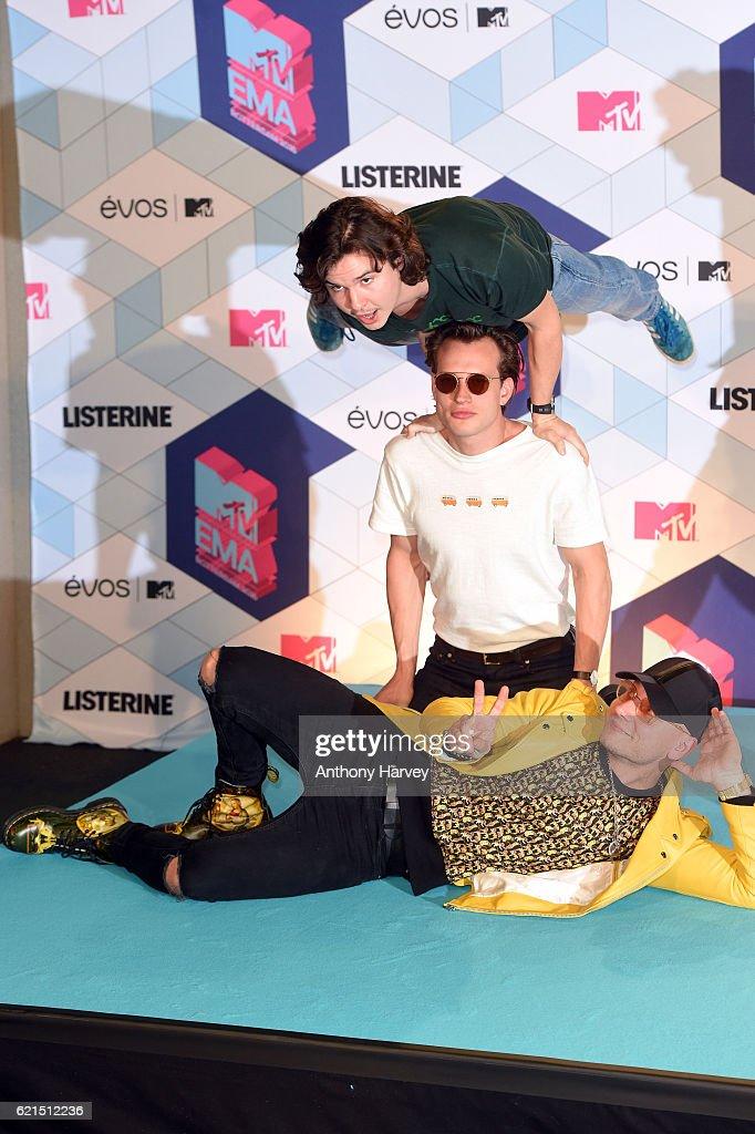 Lukas Forchhammer, Magnus Larsson and Mark Falgren of Lukas Graham pose in the winner's room during the MTV Europe Music Awards 2016 on November 6, 2016 in Rotterdam, Netherlands.