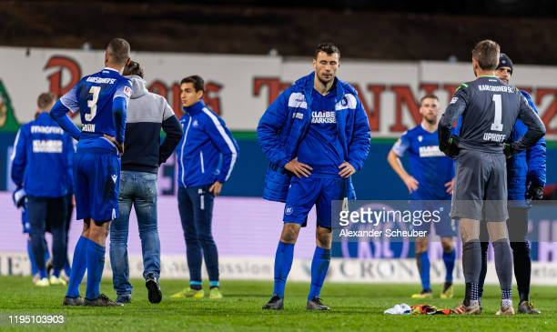 Lukas Froede of Karlsruhe reacts during the Second Bundesliga match between Karlsruher SC and SV Wehen Wiesbaden at Wildparkstadion on December 20,...
