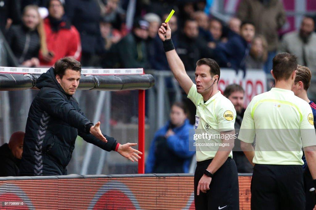 Lukas Gortler of FC Utrecht receives a second yellow card from referee Danny Makkelie during the Dutch Eredivisie match between FC Utrecht v Ajax at the Stadium Galgenwaard on January 28, 2018 in Utrecht Netherlands
