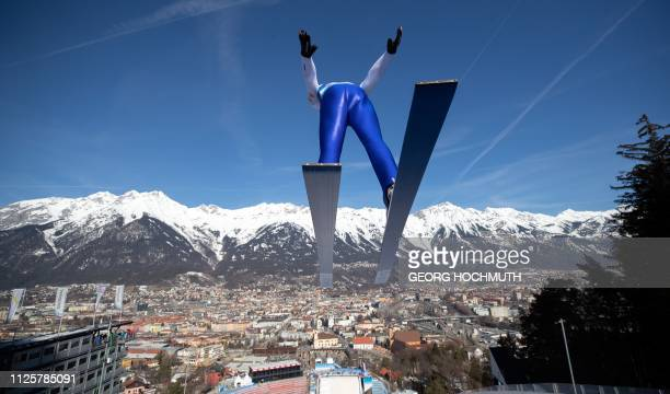 Lukas Greiderer of Austria soars through the air during a training session for the Nordic Combined event of the FIS Nordic World Ski Championships on...