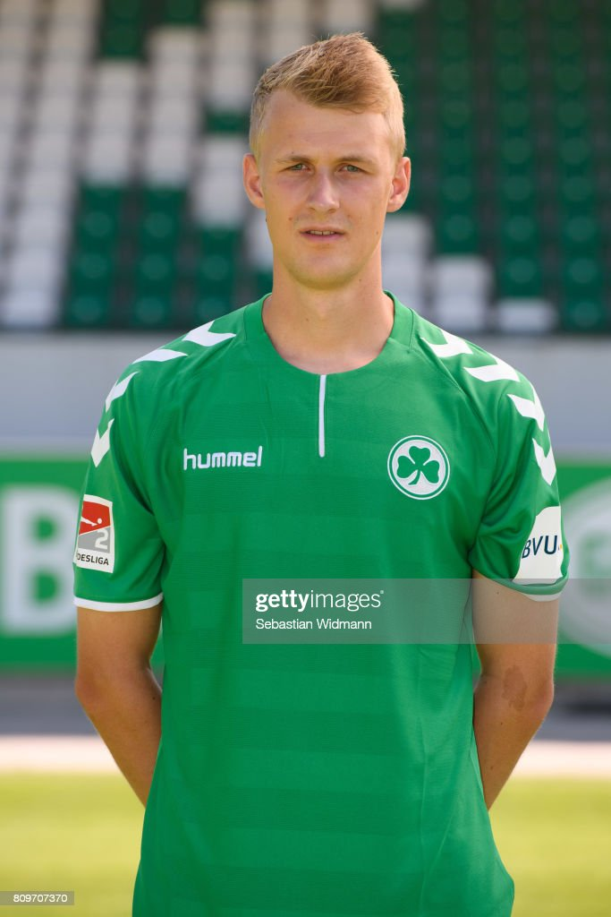 Lukas Gugganig of SpVgg Greuther Fuerth poses during the team presentation at Sportpark Ronhof on July 6, 2017 in Fuerth, Germany.