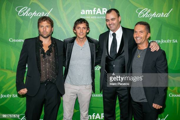 Lukas Haas and Milutin Gatsby attend the amfAR Paris Dinner 2018 at The Peninsula Hotel on July 4 2018 in Paris France