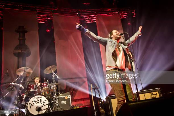 Lukas Hasitschka and Marco Michael Wanda of the Austrian band Wanda performs live on stage during a concert at the MaxSchmelingHalle on March 17 2018...