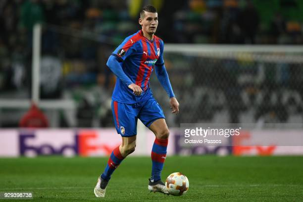 Lukas Hejda of Viktoria Plzen in action during the UEFA Europa League Round of 16 first leg match between Sporting Lisbon and Viktoria Plzen at...