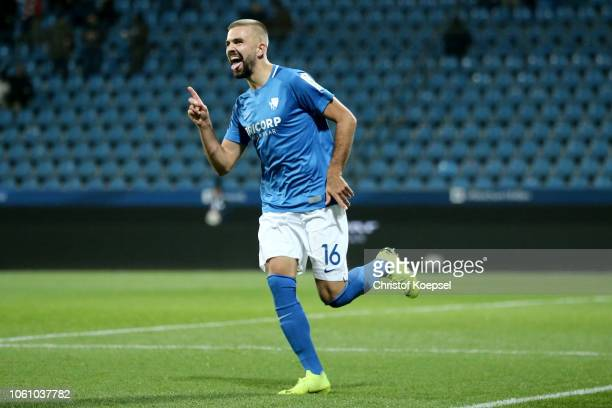 Lukas Hinterseer of Bochum celebrates after scorings his team's third goal during the Second Bundesliga match between VfL Bochum 1848 and SSV Jahn...