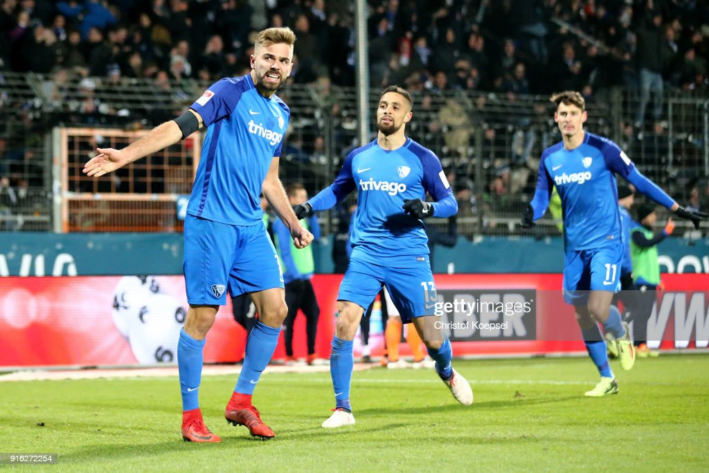 Lukas Hinterseer of Bochum celebrates the first goal during the Second Bundesliga match between VfL Bochum 1848 and SV Darmstadt 98 at Vonovia Ruhrstadion on February 9, 2018 in Bochum, Germany.