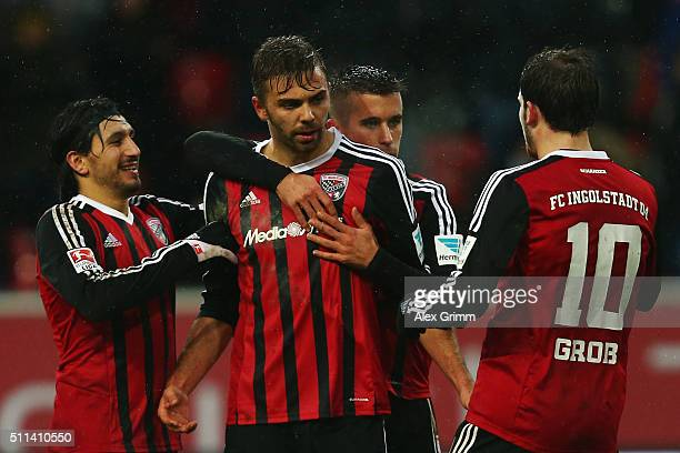 Lukas Hinterseer of Ingolstadt celebrates his team's second goal with team mates during the Bundesliga match between FC Ingolstadt and Werder Bremen...