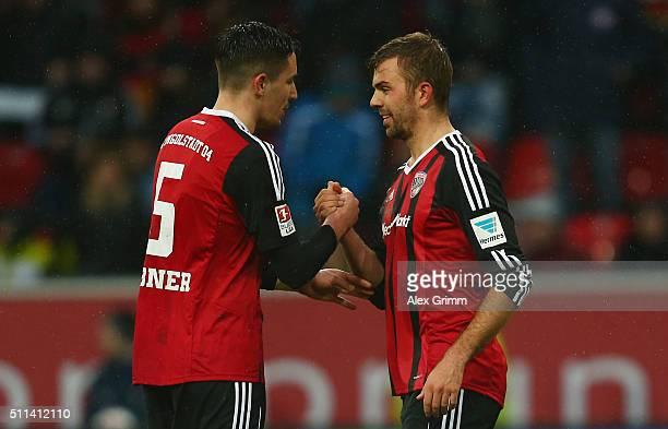 Lukas Hinterseer of Ingolstadt celebrates his team's second goal with team mate Benjamin Huebner during the Bundesliga match between FC Ingolstadt...