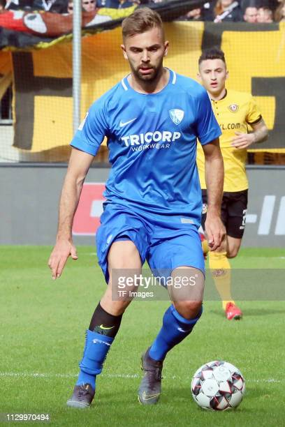 Lukas Hinterseer of VfL Bochum 1848 controls the ball during the second Bundesliga match between Dynamo Dresden and VfL Bochum 1848 at...