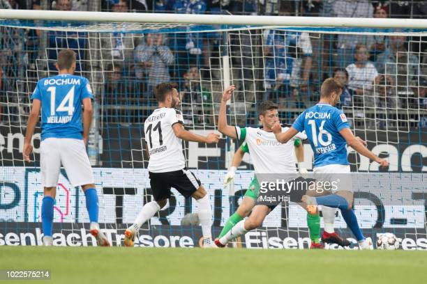 Lukas Hinterseer scores his teams first goal to make it 10 during the Second Bundesliga match between VfL Bochum 1848 and SV Sandhausen at Vonovia...