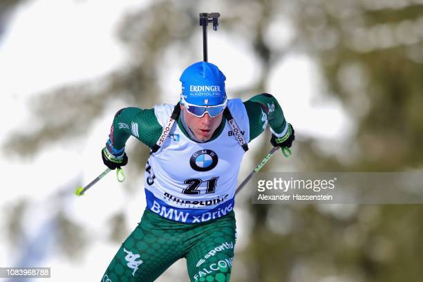 Lukas Hofer of Italy competes at the 10 km Men's Sprint during the IBU Biathlon World Cup at Chiemgau Arena on January 17 2019 in Ruhpolding Germany