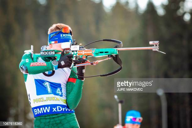 Lukas Hofer of Italy competes at the shooting range during the Mixed Relay competition of the IBU Biathlon World Cup in Pokljuka in the Julian Alps...