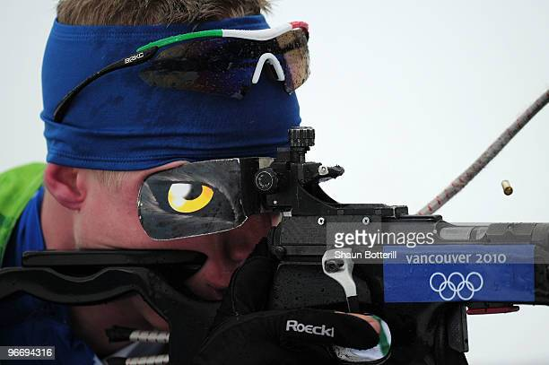 Lukas Hofer of Italy competes in the men's biathlon 10 km sprint final during the Biathlon Men's 10 km Sprint on day 3 of the 2010 Winter Olympics at...