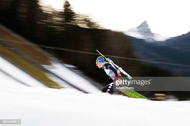 Lukas Hofer of Italy in action during the men's 4x75km relay on day two of the EOn IBU World Cup Biathlonon January 9 2014 in Ruhpolding Germany