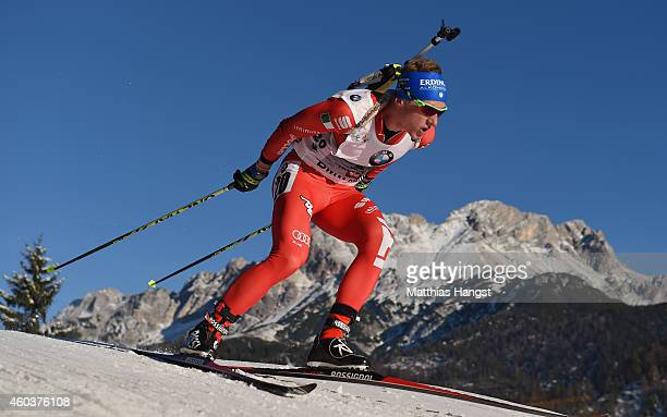 Lukas Hofler of Italy competes in the men's 10 km sprint event during the IBU Biathlon World Cup on December 12 2014 in Hochfilzen Austria
