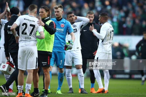 Lukas Hradecky and Kevin Prince Boateng of Frankfurt appears frustrated after the Bundesliga match between SV Werder Bremen and Eintracht Frankfurt...