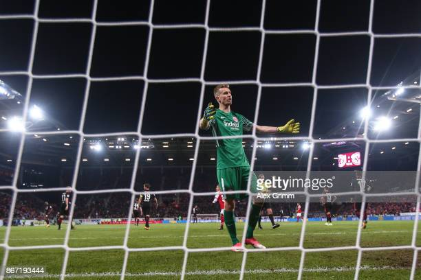 Lukas Hradecky goal keeper of Frankfurt reacts after 11 during the Bundesliga match between 1 FSV Mainz 05 and Eintracht Frankfurt at Opel Arena on...