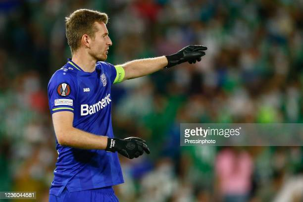 Lukas Hradecky of Bayer 04 Leverkusen during the UEFA Europa League match between Real Betis and Bayer 04 Leverkusen played at Benito Villamarin...