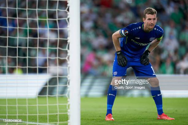 Lukas Hradecky of Bayer Leverkusen looks on during the UEFA Europa League group G match between Real Betis and Bayer Leverkusen at Estadio Benito...