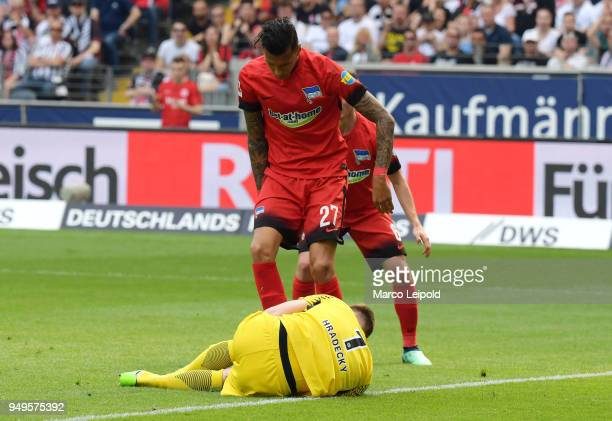 Lukas Hradecky of Eintracht Frankfurt and Davie Selke of Hertha BSC during the game between Eintracht Frankfurt and Hertha BSC at the...