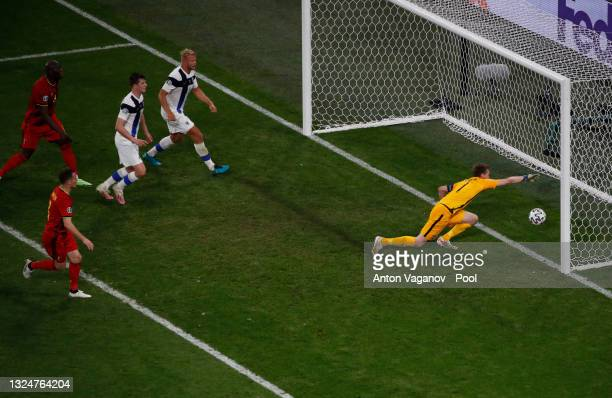 Lukas Hradecky of Finland fails to save as Thomas Vermaelen of Belgium scores their team's first goal during the UEFA Euro 2020 Championship Group B...