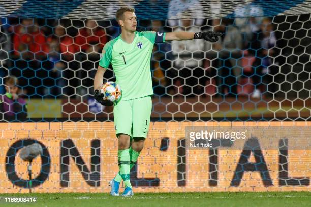 Lukas Hradecky of Finland gestures during UEFA Euro 2020 qualifying match between Finland and Italy on September 8 2019 at Ratina Stadium in Tampere...