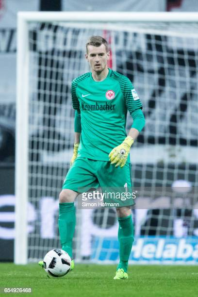 Lukas Hradecky of Frankfurt during the Bundesliga match between Eintracht Frankfurt and Hamburger SV at CommerzbankArena on March 18 2017 in...