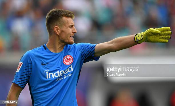 Lukas Hradecky of Frankfurt gestures during the Bundesliga match between RB Leipzig and Eintracht Frankfurt at Red Bull Arena on September 23 2017 in...