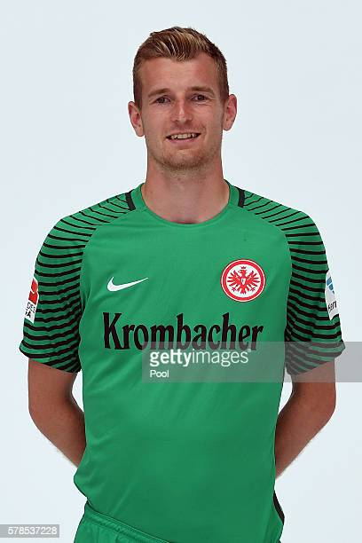 Lukas Hradecky poses during the Eintracht Frankfurt Team Presentation on July 21 2016 in Frankfurt am Main Germany